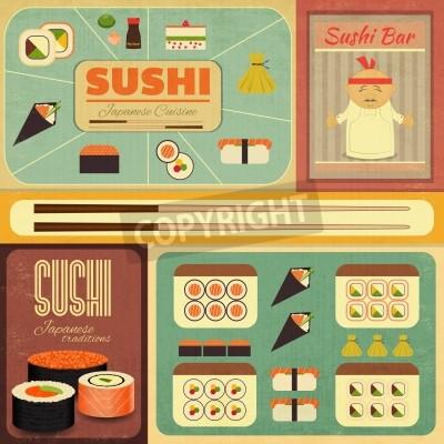 Affisch Uppsättning av Retro Sushi etiketter i vintagestil. Vektor illustrationen.