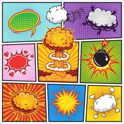 Affisch Uppsättning av serier tal och explosion bubblor 2