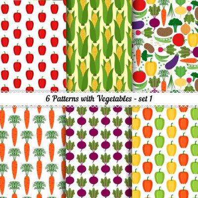 Affisch Uppsättning av sömlösa mönster med olika grönsaker