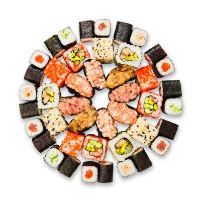 Affisch Uppsättning av sushi, maki och rullar isolerade på vit