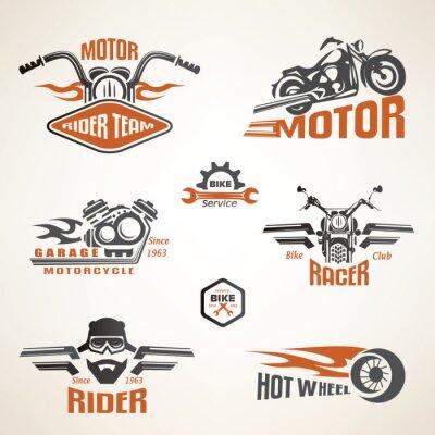 Affisch Uppsättning av vintage motorcykel etiketter, märken och designelement
