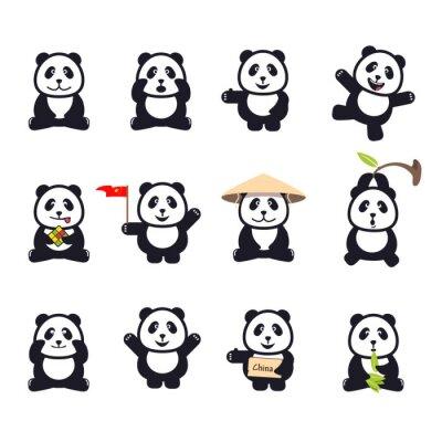 Affisch uppsättning gulliga roliga tecknad pandor