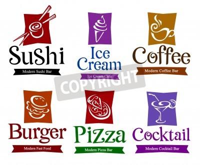 Affisch Uppsättning vektor symboler och titlar för din mat och dryck design.