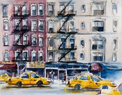 Affisch Upptagen New York street. vattenfärg skissar