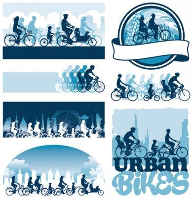 Affisch Urban cyklister redigerbara vektor silhuetter etiketter