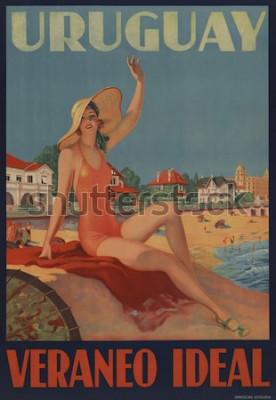 Affisch Uruguay, Veraneo Idealisk. 1930-talets reseplakat visar en badskönhet vid stranden.