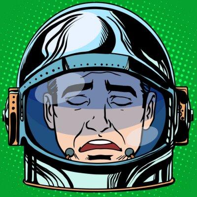 Affisch uttryckssymbol sorg Emoji ansikte man astronaut retro