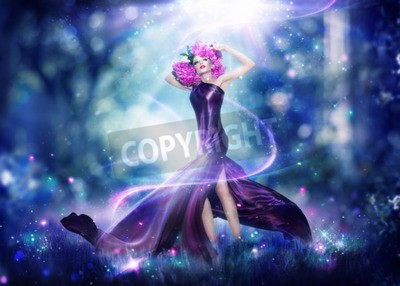 Affisch Vacker fantasi fe kvinna, mode konstporträtt