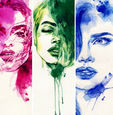 Affisch Vacker kvinna. akvarell illustration