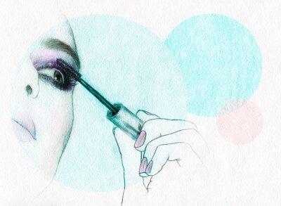Affisch Vacker kvinna ansikte. akvarell illustration
