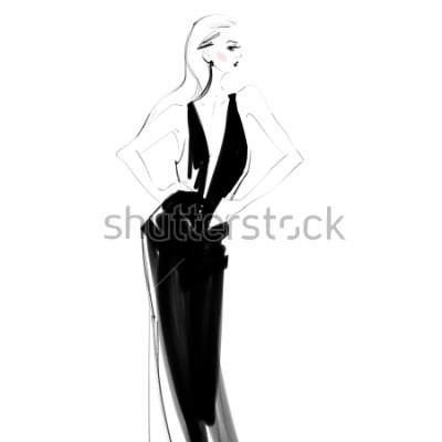 Affisch Vacker kvinna i svart klänning isolerad ritning. Glamour ung tjej Mode skiss.