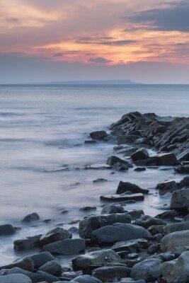 Affisch Vacker solnedgång liggande bilder av klippiga kusten i Kimmeridg