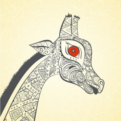 Affisch Vacker vuxen giraff. Handritad illustration av prydnads giraff. Färgade giraff på prydnads bakgrund.