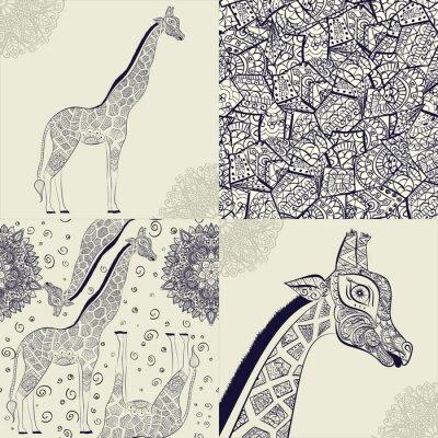 Affisch Vacker vuxen giraff. Handritad illustration av prydnads giraff. isolerad giraff på vit bakgrund. Seamless mönster från en dekorativ giraff