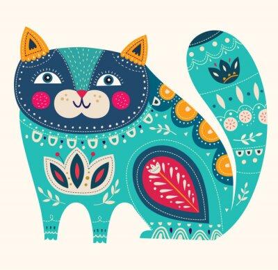 Affisch Vackra dekorativa vektor katt i blå färg