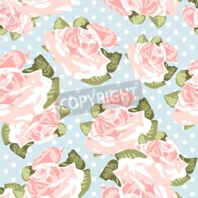 Affisch Vackra Seamless rosmönster med blå polka dot bakgrund, vektor illustration