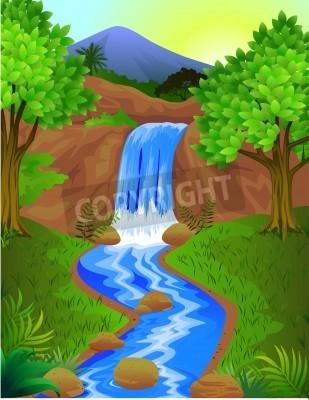 Affisch vackra vattenfall