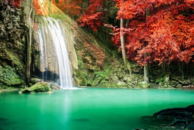 Affisch Vackra vattenfall i höst skog