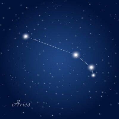 Affisch Väduren konstellation stjärntecken på stjärnklara natthimlen