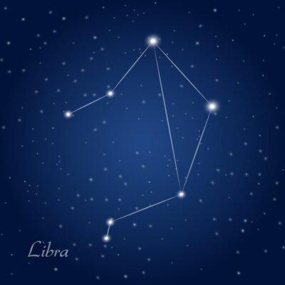 Affisch Vågen konstellation stjärntecken på stjärnklara natthimlen