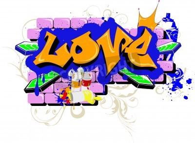 Affisch vägg Graffiti älskar Urban Art