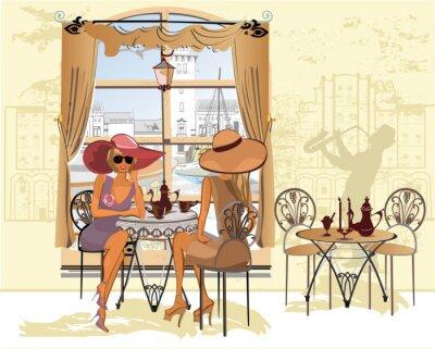 Affisch Vänner i caféet dricka kaffe.