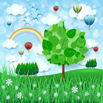 Affisch Vår bakgrund med stort träd och luftballonger