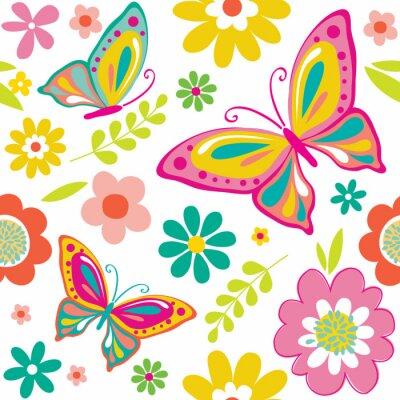 Affisch våren mönster med söta fjärilar som lämpar sig för presentpapper eller bakgrundsbild. EPS 10 och HI-RES JPG ingår
