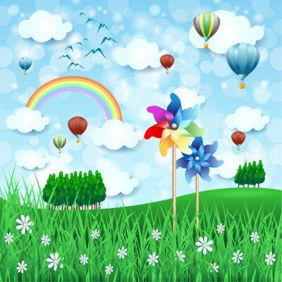 Affisch Vårlandskap med pinwheels och varmluftsballonger