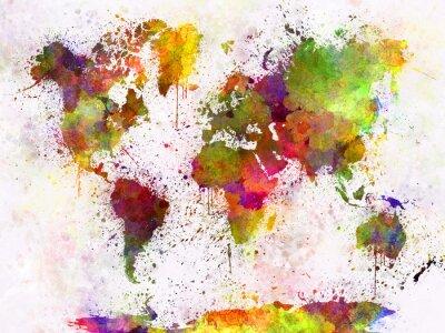 Affisch Världskarta i akvarell