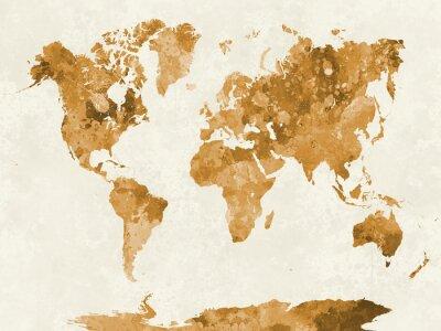 Affisch Världskarta i akvarell apelsin