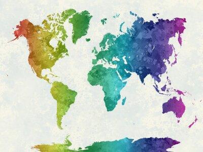 Affisch Världskarta i akvarell regnbåge