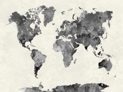 Affisch Världskarta i vattenfärg grå
