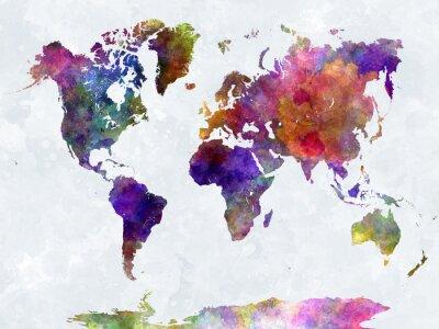 Affisch Världskarta i watercolorpurple och blått