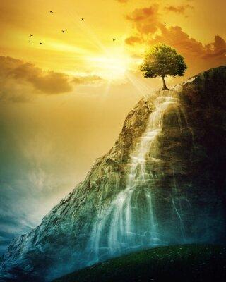 Affisch vattenfall träd