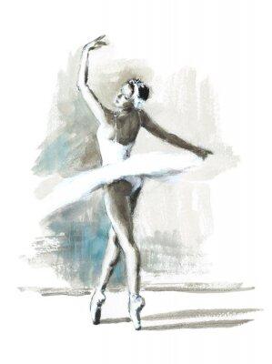 Affisch Vattenfärg Ballerina handmålade Ballet Dancer Illustration