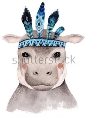 Affisch Vattenfärg flodhäst porträtt, söt boho design med fjädrar. Nursery prints med djur, affischer och vykort.