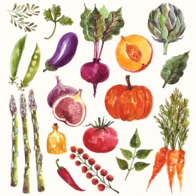 Affisch Vattenfärg grönsaker och frukt