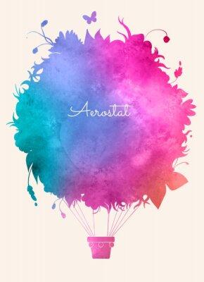 Affisch Vattenfärg tappning varmluft balloon.Celebration fest backgroun
