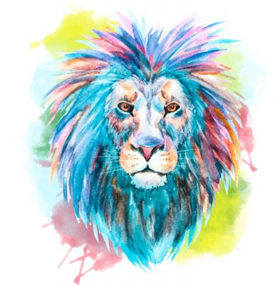 Affisch Vattenfärg vektor lion