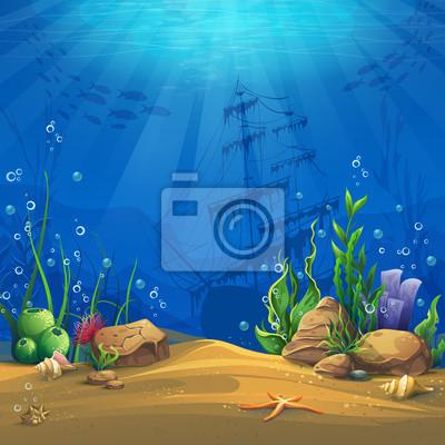 Affisch Vattensvärlden Vector illustration bakgrund
