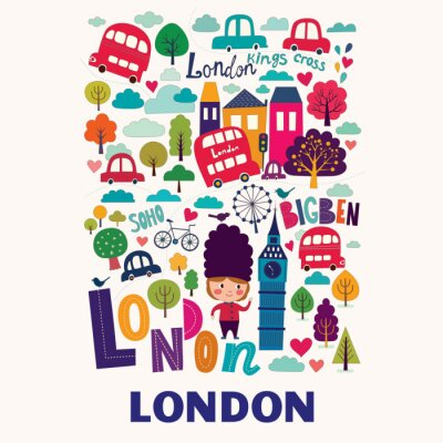 Affisch Vector färgstarka mönster med symboler för London