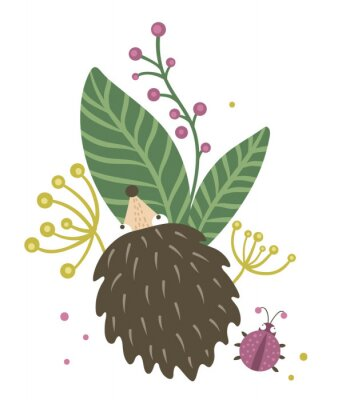 Affisch Vector hand drawn flat hedgehog with berries, leaves and ladybug clip art. Funny autumn scene with prickly animal having fun. Cute woodland animalistic illustration for children's design, print