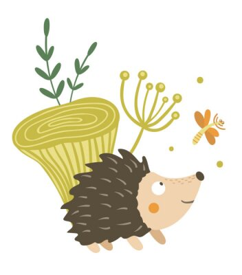 Affisch Vector hand drawn flat hedgehog with mushroom and dragonfly clip art. Funny autumn scene with prickly animal having fun. Cute woodland animalistic illustration for children's design, print,