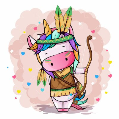 Affisch Vector hand drawn illustration of a cute unicorn