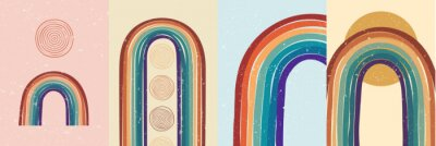 Affisch Vector illustration. Abstract poster set. Contemporary backgrounds. Colorful rainbow. Design elements for book cover, page template, print, card, brochure, magazine, poster. 60s, 70s retro graphic