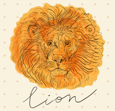 Affisch Vector illustration med lejonhuvud