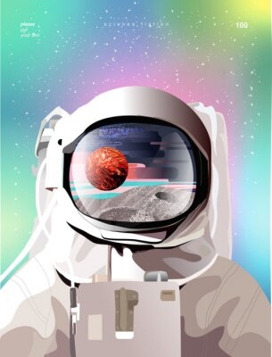 Affisch Vector illustration of a portrait of an astronaut in a spacesuit in space with planets, gradient abstract background for a poster, banner or cover