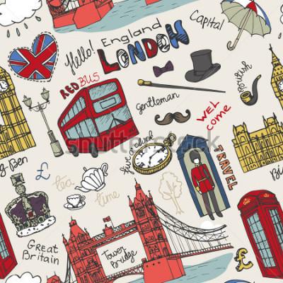 Affisch Vector London landmärke, bokstäver i sömlösa mönster.Doodle Hand ritade sketchy. Berömda arkitektoniska monument, tecken, symboler. England vintage ikoner, bakgrund, bakgrund, tapeter, tyg