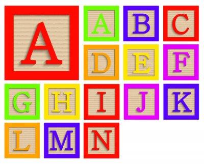 Affisch Vector moderna trä alfabetet block set